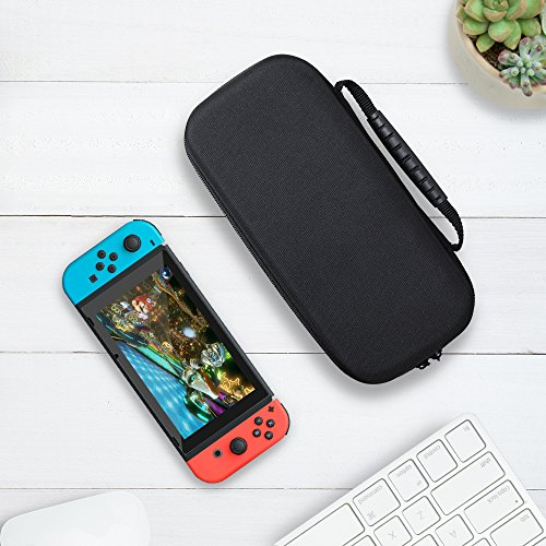 SURPHY Carrying Case for Nintendo Switch, Glass Screen Protector and Portable Nintendo Switch Travel Bag with 20 Game Cartridges for Nintendo Switch Console & Accessories (Black, Nylon),with Carabiner by SURPHY (Image #8)