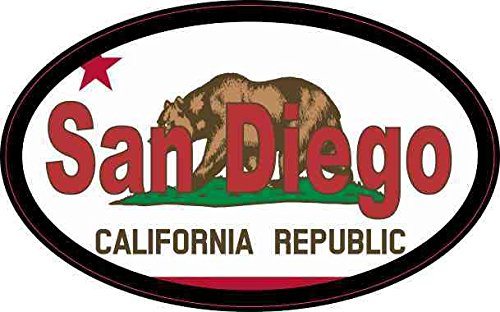 (4in x 2.5in Oval Californian Flag San Diego Sticker)
