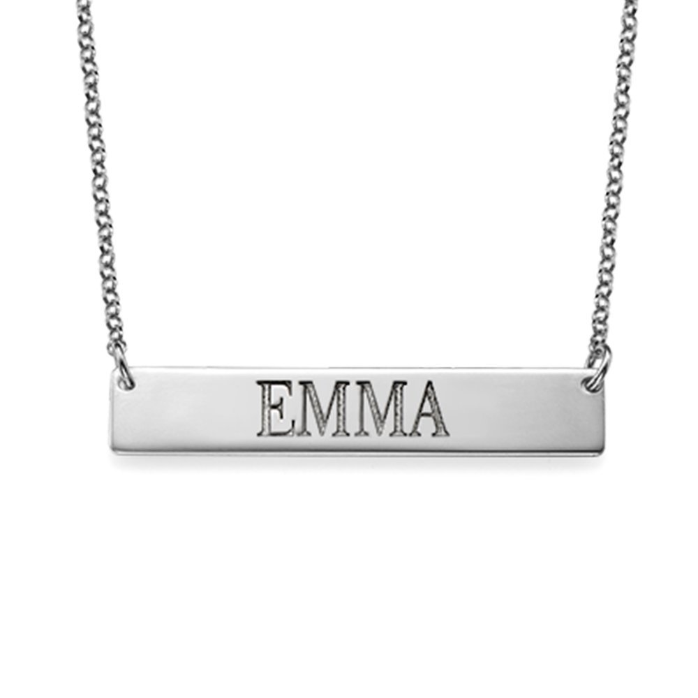 Bar Necklace Engraved Personalized Name Necklace all Capitol Letters - Custom Jewelry...