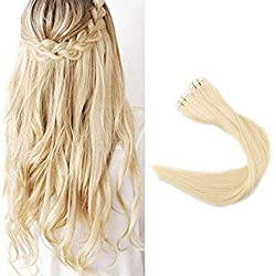 Full Shine 18 Inch Popular Multi-Colors Light Blonde (#613) Tape in Premium Remy Human Hair Extensions 40 Pcs Per Set 100g Weight Straight Human Hair Tape Hair Extensions