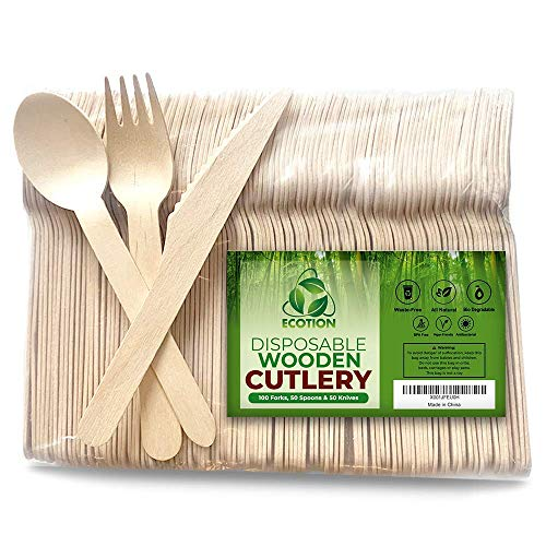 Disposable Wooden Cutlery by ECOTION | Party Set | Eco-Friendly | Biodegradable | 100% All-Natural | Disposable Utensils | Show Your ECOTION! | Set of 200 | 100 Forks, 50 -