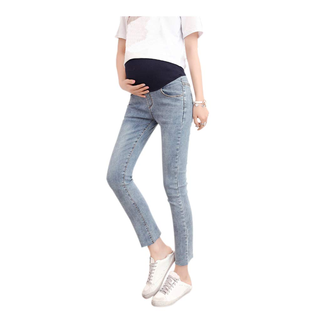 Haodasi Women Maternity Fashion Stretchy Pants Leggings Waistband Jeans Over The Bump