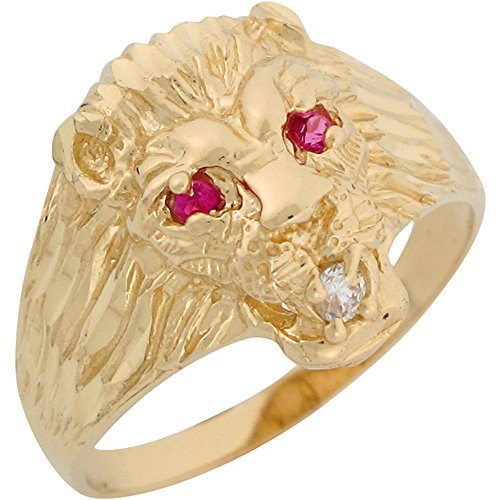 Lion Head Ladies Ring - 10k Yellow Gold Simulated Ruby White CZ Lion Head Mens Ring