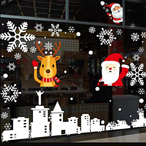 Suiewult 256 Pcs Christmas Window Clings Holiday Decorations, 8 Sheets Snowflake Reindeer Santa Claus Window Stickers for Christmas Window Descoration