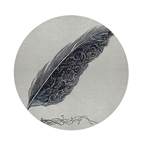 iPrint Cotton Linen Round Tablecloth,Feather House Decor,Image of a Dated Classic Quill Pen Feather with Leaf Motifs on One Side,Grey,Dining Room Kitchen Table Cloth Cover (Daisy Pen Beaded)