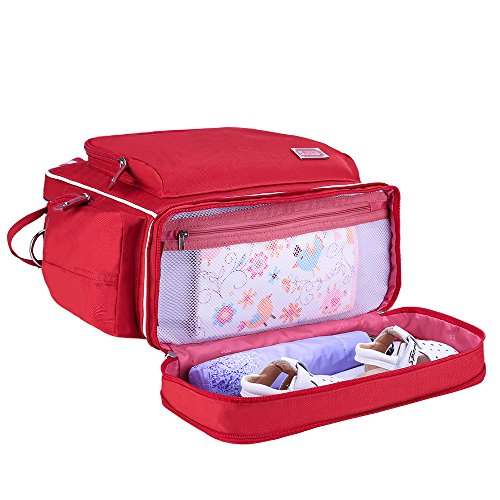 sunveno Bolso de mujer mochila Gran Capacidad momia bolsa bebé diapper Bolsa Mutifunction Maternidad Mochila rosa Talla:L rosso