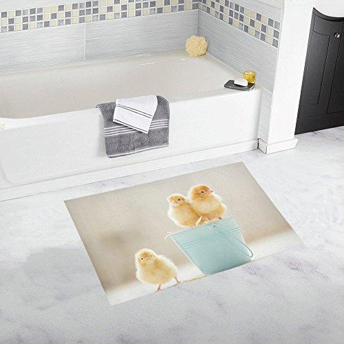 InterestPrint Cute Baby Chicks Yellow Little Chicken Decor Non-Slip Bath Rug Absorbent Shower Mat Bath Mats for Bathroom Tub Large Size 20 x 32 Inches