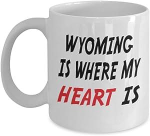 11oz Mug Custom Wyoming Mug Going Away Gift State Mugs Moving Away State Gift Somebody My Heart Is,al0649