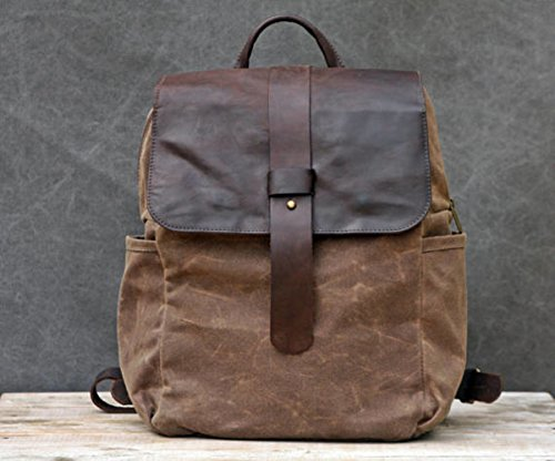 Handmade Brown Canvas and Leather Unisex Backpack with Camera SLR Insert by Ruth Kraus