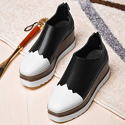 HGTYU-The Spring Platform Shoes British Style Shoes Slope Documentary Shoes Leisure Shoes High Heeled 7Cm Students black and white WcAvy