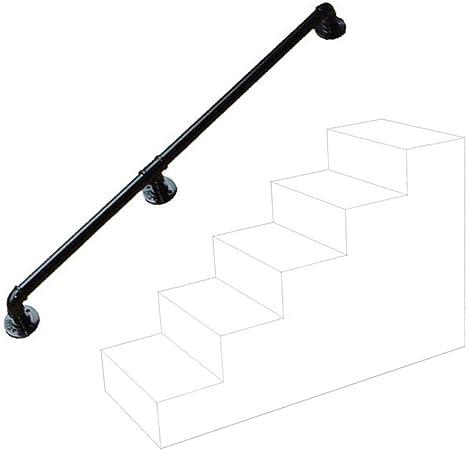 Industrial Soportes de pasamanos para escaleras Exterior Metal Negro Hierro Forjado | barandillas de barandas para escaleras Interiores Directamente a la Puerta de lescalera o Entrada del sótano: Amazon.es: Hogar