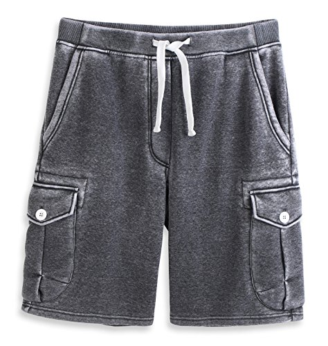 HARBETH Men's Classic-Fit 5-Pockets Cargo Short Cotton Elastic Fleece Gym Shorts Burnout Gray S 5 Pocket Drawstring Cargo