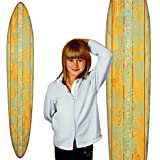 Growth Chart Art | Wood Surfboard Growth Chart for Boys & Girls | Baby Shower Gift | Teal Hibiscus