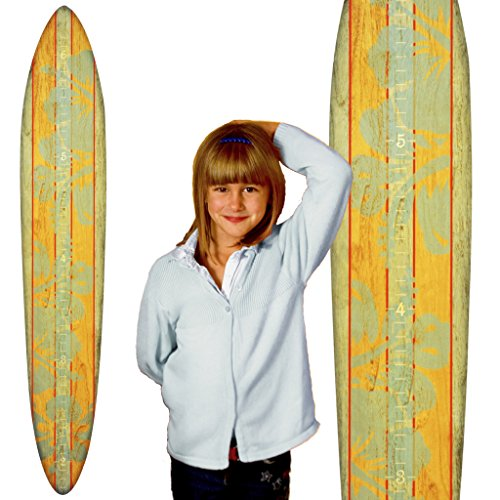 Growth Chart Art | Wood Surfboard Growth Chart for Boys & Girls | Baby Shower Gift | Teal Hibiscus by Growth Chart Art