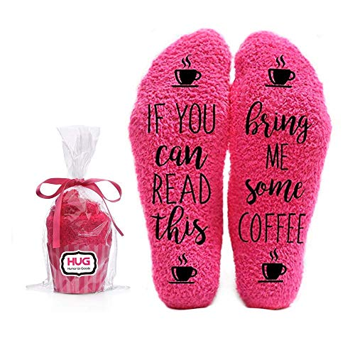 Bring Me Coffee Fuzzy Pink Socks - Novelty Cupcake Packaging for Her - Birthday Gift Idea for Women, Mom, Wife, Sister, Friend or Grandma - 1 Pair Christmas Stocking Stuffers