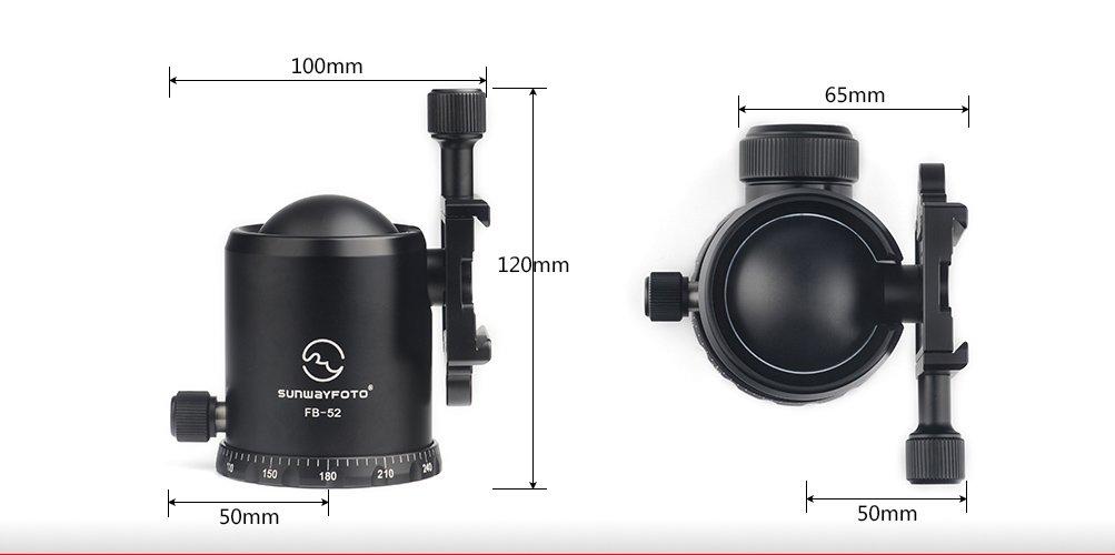 SUNWAYFOTO FB-52 52mm Tripod Ball Head Arca / RRS Compatible 44lb Max Load Sunway by Sunwayfoto (Image #9)