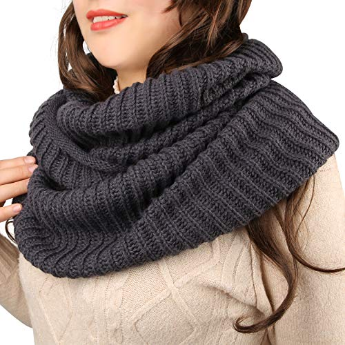 Winter Infinity Scarf Women Thick Grey Knit Scarves Circle Loop Fashion Ribbed