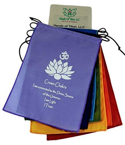 (Small Seven Chakra Prayer Flags Banner Wall Hanging)