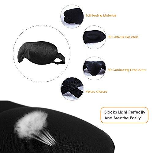 MAIYU Comfortable 3D Sleeping Eye Mask Relax Sleep Masks, Super Light Soft Travel Sleep Rest Eye Shade Blinder for Men & Women Ear Plugs Included for Free