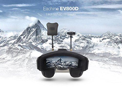 Crazepony FPV Goggles Eachine EV800D 5.8G 40CH Diversity 5 Inch 800480 Video Headset Build in HD DVR 7.4V 1200mAh Battery for RC Quadcopter by EACHINE (Image #2)