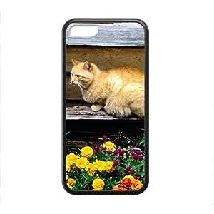 Cute Adorable Cat And Flower Black Phone Case for Iphone 5C WANGJING JINDA