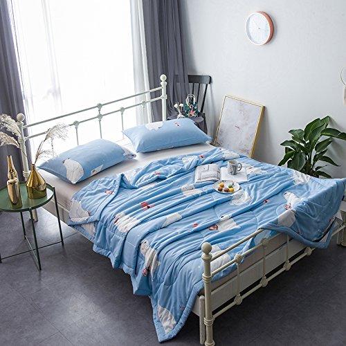 (KFZ Cool Summer Quilt Comforter Set No Pillow Covers YJY Twin Full Queen Cartoon Fox Bear Rabbit Blue Color Designs For Children Quilt One Piece (Polar Bear, Blue, Full,70