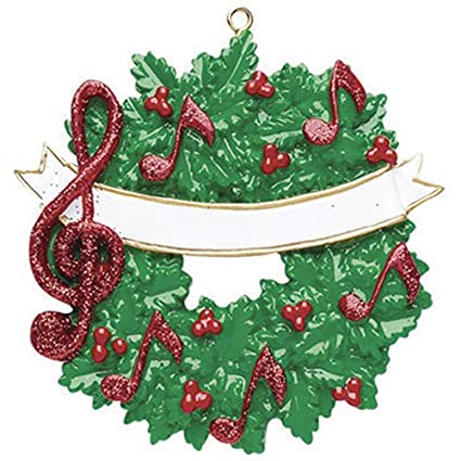 Christmas Music On Radio 2019.Personalized Music Christmas Tree Ornament 2019 Green Wreath Red Notes Glitter Treble Clef Sign Berry Artist Compose Conduct Hobby Virtuoso Player