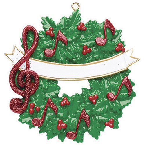 Personalized Music Christmas Tree Ornament 2019 - Green Wreath Red Notes Glitter Treble Clef Sign Berry Artist Compose Conduct Hobby Virtuoso Player Solo Vocal Teacher Year - Free Customization