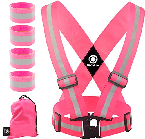 High Visibility Reflective Vest - Safety Reflector Strips Bands - Reflective Running Gear for Men and Women for Night Running, Biking, Walking (Pink Vest + 4 ()