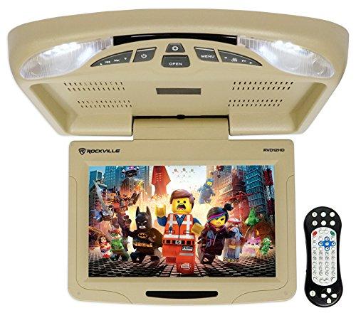 Rockville RVD12HD-BG 12″ Beige Flip Down Car Monitor DVD/USB/SD Player + Games