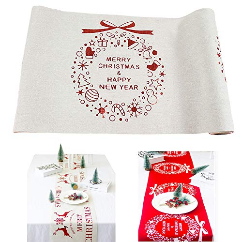 Lesirit Tablecloth Print Fabric Home Kitchen Christmas Red Desktop Table Cloth Decoration (White Garland)