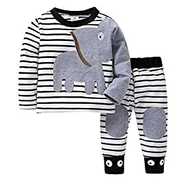 Boys Clothing Sets, SHOBDW Newborn Baby Girls Cute Elephant Striped Print Long Sleeve T-Shirt Tops + Pants Casual Autumnal Pajamas Clothes