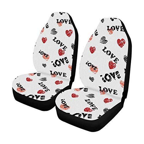 INTERESTPRINT Words Love Hearts Silhouettes Car Seat Cover Front Seats Only Full Set of 2, Bucket Seat Protector Car Seat Cushions for Car, SUV, Truck or Van ()