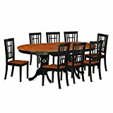 East West Furniture PLNI9-BCH-W 9 Piece Dining Table with 8 Wooden Chairs Set
