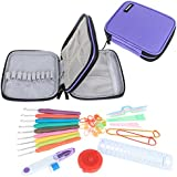 Damero Ergonomic Crochet Hook Set - with Organizer Case and Complete Accessories /Crochet Kit, Purple