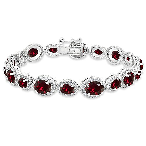 - Sterling Silver Created Ruby & White Topaz Oval Halo Statement Bracelet