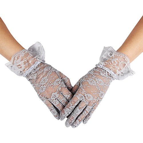 Evaliana Wedding Bridesmaid Dancewear Special Occasion Wrist Lace Gloves