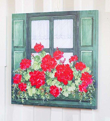 Outdoor Canvas Wall Art.Geranium Window Box Outdoor Canvas Wall Art Amazon Co Uk