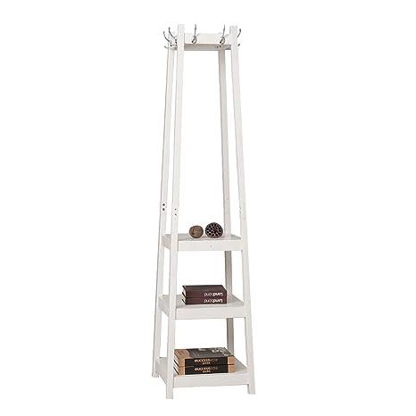 soges 44 x 44 x 180cm Soportes de Perchero de Madera con estantes de Almacenamiento y con 8 Ganchos de Metal, FYJ001-W