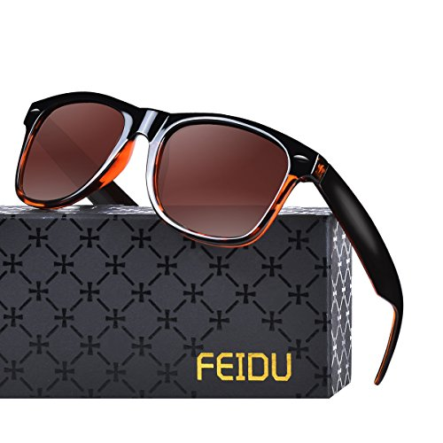 FEIDU Polarized Classic Retro Wayfarer Retro Sunglasses for Men Unisex FD 2149 (Brown/Half leopard, - Wayfarer Sunglasses Half