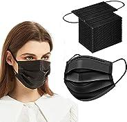 MBVBN Black Disposable Face Masks 100 PCS Face Protection Masks 3 Ply Face Masks for Adults