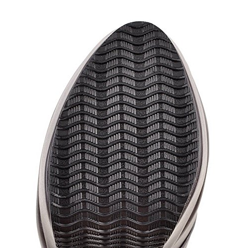 Allhqfashion Donna Tacco Tacco Tinta Unita Punta Chiusa Stivale Stringato In Materiale Morbido Marrone