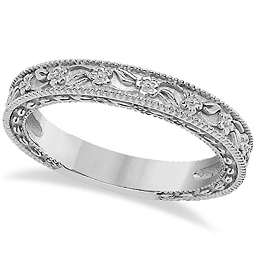 - Carved Floral Designed Wedding Band Stackable Anniversary Ring in Palladium