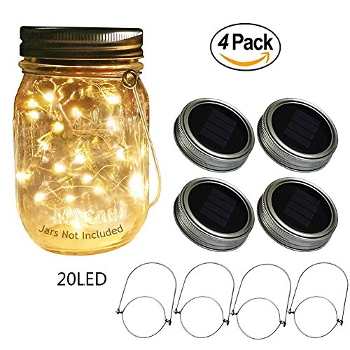 Cheap  Beego Solar Mason Jar Lids with 20 Led Fairy String Lights,4 Pack..