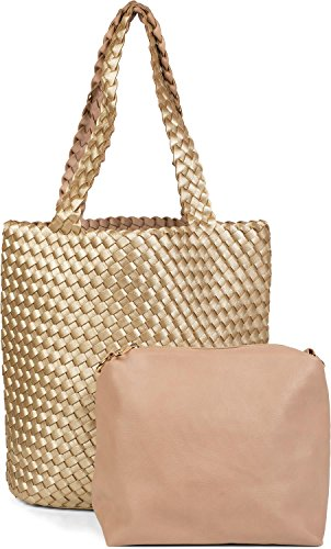 bags reversible woven Gold bag of Gold hand bag Beige set 02012182 bag shoulder shopping Color 2 bag styleBREAKER ladies in Beige bag in bag look 7qtt1d