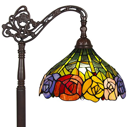 Best Choice Products 62in Vintage Tiffany Style Accent Floor Light Lamp w/Rose Flower Design for Living Room, Bedroom - Multicolor