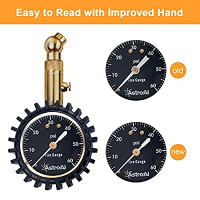 AstroAI Tire Pressure Gauge Expert 60 PSI - Heavy Duty Tire Gauge ANSI Certified Accurate, Improved Needle and Chuck: Automotive