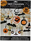 Halloween Decorations Witches Bats Swirl Hanging Decorations 30pc (Small image)