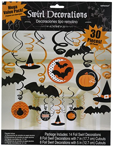 Amscan New Age Scare Halloween Party Witches & Bats Swirl Ceiling Hanging Decoration (30 Piece), One Size, Multicolor (Halloween 1 Decorations)