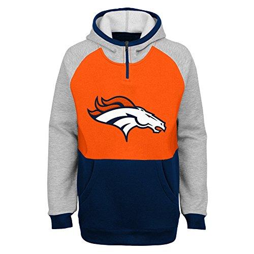 Outerstuff NFL Denver Broncos Youth Boys Regulator Hooded 1/4 Zip Top, Orange, Youth Large(14-16)